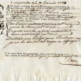 Connaissement maritime à en tête illustrée d'un voilier le 7 janvier 1788 – Marseille à Agde Tartane appelée Le St Louis transportant deux caisses de mercerie ordinaire en grains de […]